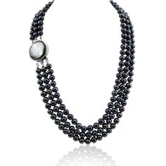 """3-row Black Freshwater Cultured Pearl Necklace with Mother of Tahiti Pearl rhodium plated base metal Clasp(6.5-7.5mm), 17.5"""",18.5""""/20"""". 3-row Black Freshwater Cultured Pearl Necklace with Mother of Tahiti Pearl rhodium plated base metal Clasp(6.5-7.5mm), 19"""",20""""/21"""". Classic style. Great for Any Occasions. See """"Special Offers & Product Promotions"""" below for our current coupon offers. Free gift promotions require that the free gift item be added to your cart plus you must apply the coupon..."""