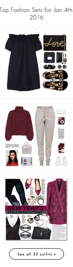 """""""Top Fashion Sets for Jan 4th, 2016"""" by polyvore ❤ liked on Polyvore featuring Clu, Dolce&Gabbana, Lanvin, Bobbi Brown Cosmetics, Valentino, monochrome, MyStyle, blackdress, Topshop and adidas"""