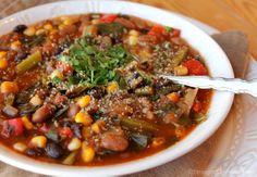 Southwest Stew: This chunky, satisfying stew is full of beans, greens, corn, mushrooms, bell pepper, and plenty of herbs and spices to please your taste buds and fill your belly. This recipe makes 12 cups of stew, perfect for leftovers throughout the week! (plants-only, no salt, oil or sugar).