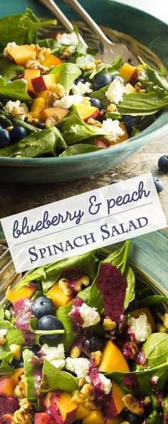 Punch up your spinach salad with seasonal summer fruits, creamy cheese, and glazed walnuts in this peach and blueberry spinach salad.