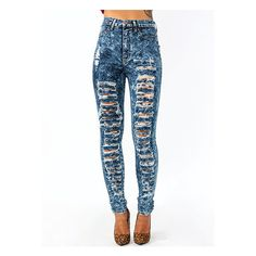 High-Waisted Distressed Jeans ($51) ❤ liked on Polyvore featuring jeans, pants, bottoms, calças, stretchy jeans, high-waisted jeans, high-waisted skinny jeans, ripped jeans and high waisted distressed jeans