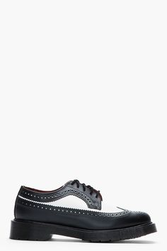 DR. MARTENS Black & White Classic Leather 3989 Longwing Brogues