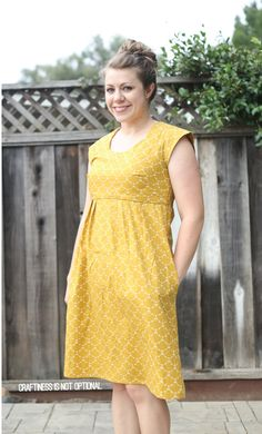 mustard washi dress \\ craftiness is not optional Washi Dress, Diy Dress, Dress Skirt, Dress Sewing Patterns, Clothing Patterns, Stitch Fix Dress, Diy Kleidung, Couture, Dressmaking