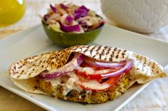 This healthy flavor packed vegan chickpea burger with tahini sauce is so delicious - you will not miss the meat, I promise!