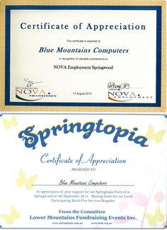 Nova Employment and Springtopia Certificates