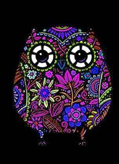 black owl (artist unknown) Wouldn't this be cool painted on glass with a candle behind it?