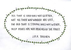 all that is gold does not glitter, not all those who wander are lost. the old that is strong does not wither, deep roots are not reached by the frost.