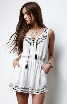 Erin Wasson Embroidered Lace-Up Romper. #PSerinwasson #pacsun