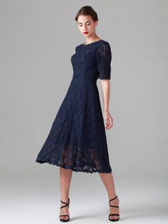 Elbow Sleeve Lace Dress; Color: Midnight Navy; Sizes Available: 2-26W; Fabric: Lace, Satin