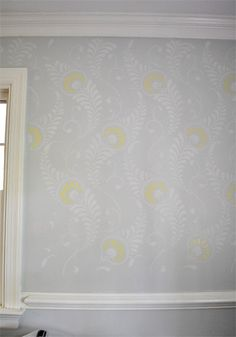 Dude, Stencils Are No Joke | Young House Love -- stenciled wall--love the treatment even if it's hard to do.