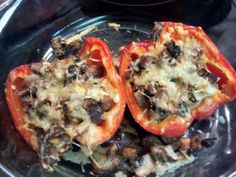 easy stuffed peppers saute onions, portabella mushrooms in coconut oil, and add some gluten free breadcrumbs top with Beyond organic raw cheddar and throw in the peppers put in oven while you get 30 more minutes of work done