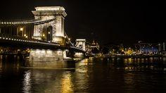 Man Made Chain Bridge  Night Light City Budapest Danube Hungary Bridge Wallpaper
