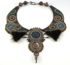 Golden Embroidered collar necklace bead by GlassAfternoon on Etsy