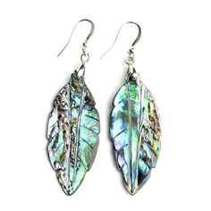 O-stone Natural Abalone Pearl Nacre Earrings Leaf of the Rainblow Mother of Pearl 42mm18mm3mm - Fashion Jewelry
