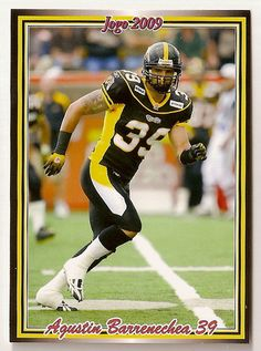 59332e2a564 Agustin Barrenechea CFL card 2009 Jogo #156 Hamilton Tiger-Cats Calgary  Dinos Blood Bowl