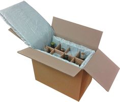 Thermal Chilled Wine Shipper, temperature control shipping packaging box liners protect mail order shipments of fine wines. Insulating padding made from purified clean flocked recycled cotton fibers.