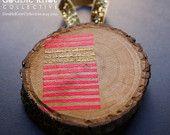 Hand-Painted Christmas Tree Ornament - Wood Slice - Neon pink geometric design.