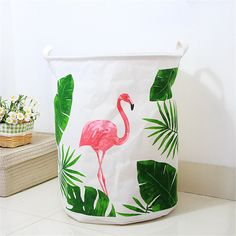 Pink Flamingo Canvas Laundry Hamper Basket