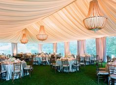 Elegant Chandeliers in Wedding Tent