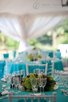 Turquoise tablecloths for Peacock Themed wedding reception
