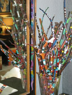 "Bouquet of Painted Sticks by Melissa ""Sasi"" Chambers.  Art and the Environment full blown fun.  Children love picking up sticks."