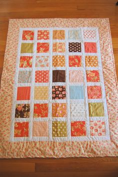 Baby Quilt, Breakfast at Tiffany's by Moda, Hand Quilted, Baby Girl Quilt. $159.00, via Etsy.