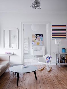 Strong colours and pattern are balanced with a white backdrop