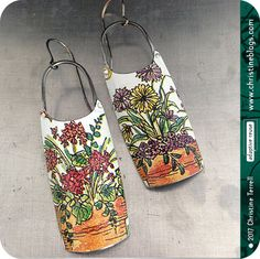 Lotsa Flowers — Upcycled Tin Earrings by Christine Terrell for adaptive reuse on Etsy