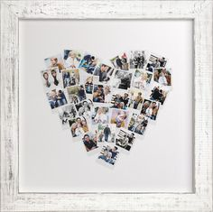 Upload your pictures and create your own heart snapshot mix! Perfect for wedding photos, as an anniversary gift with pictures through the years, or with any assortment of special shots! Various sizes and frames are available. This would make an amazing gift, or create your own! LOVE THIS!! #wallart #heart #giftideas #harvardhomemaker