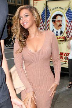 Beyoncé is stunning in a thigh-high slit dress