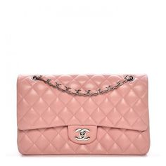 CHANEL Lambskin Quilted Medium Double Flap Light Pink ❤ liked on Polyvore featuring bags, handbags, handbag purse, flap purse, light pink purse, chain strap purse and light pink handbags
