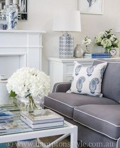 One of our most popular colour palette's of this winter season, the soft blues, greys & whites work to make this living room look simply beautiful 💙 Living Room Pouf, Living Room Seating, Living Room Grey, Hamptons Style Decor, The Hamptons, Hamptons Living Room, Family Room Colors, Living Room Color Schemes, Fashion Room