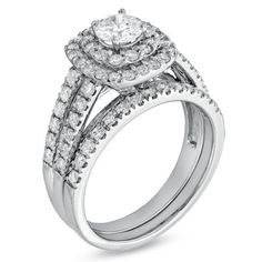 1-1/2 CT. T.W. Diamond Double Frame Bridal Set in 14K White Gold - View All Rings - Zales