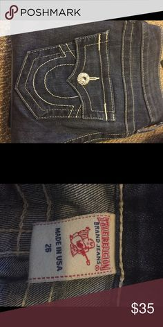 True Religion jeans size 26 Worn a few times. Jewel fell out of the pocket but it's barely noticeable. Selling because they don't fit me True Religion Jeans Boot Cut