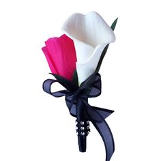Calla lily Rose Boutonniere-Hot pink Silk rosebud, real touch feel calla lily-Pin included