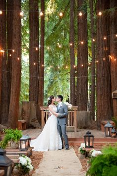 Wedding in the redwoods at YMCA Camp Campbell's outdoor chapel, (and amazing aisle decor by Seascape Flowers)