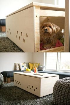 DIY Pet Projects - this is pretty awesome right here. It's a perfect hideaway for dogs who may be a little shy but still like to hang out when their people have visitors. Your dog can retreat to a safe space, yet still see, hear, and/or smell everything that's going on...and it's much more stylish than a metal crate!