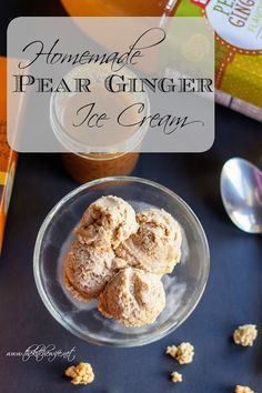 A simple recipe for Homemade Pear Ginger Ice Cream that truly highlight the flavors of the season! Kinds Of Desserts, Frozen Desserts, Frozen Treats, Sweets Recipes, Real Food Recipes, Ginger Ice Cream, Ice Cream Smoothie, Summer Snacks, Summer Treats