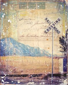"""Colorado Crossing - 10"""" x 8"""" mixed media image transfer collage on panel, travel themed road trip summer word art"""