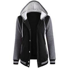 Varsity Baseball Fleece Hoodie Jacket ($26) ❤ liked on Polyvore featuring outerwear, jackets, fleece jacket, baseball jackets and fleece baseball jacket