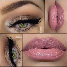Lovely make up look - perfect for day or night - blush pink lips with taupe/peach eyeshadow & black winged eyeliner...x I love me a great winged liner