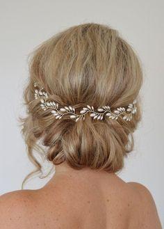 Art Deco nuziale capelli Vine, corona nuziale Pearl, riso perla sposa Halo, nozze capelli Vine, copricapo nuziale foglia di felce, nuziale Halo, 15 pollici #weddinghairstyles