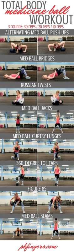 Total Body Medicine Ball Workout www.pbfingers.com... All you need is a medicine ball to complete this Total Body Medicine Ball workout! Your upper and lower body and your core will feel the burn during this workout that targets the whole body in a decreasing repetition format.