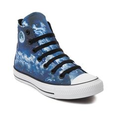 You'll be over the moon for the new All Star Hi Night Sky Sneakers from Converse! These dreamy Night Sky Chucks rock a hi-top design with whimsical night sky graphics, and signature Chuck Taylor logo patch. Available for shipment in November; Only available at Journeys and SHI by Journeys!    Features include   High top style constructed with graphic printed satin uppers and breathable textile lining   Lace-up closure   Signature Chucks rubber cap toe offers protection and durability  ...