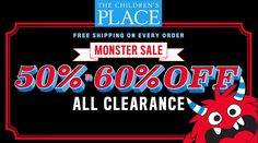 Online Only! Monster Sale! 50-60% #Off All Clearance.  Store : #TheChildrensPlace Scope: Entire Store  Ends On : 01/16/2017    Get more deals: http://www.geoqpons.com/The-Childrens-Place-coupon-codes  Get our Android mobile App: https://play.google.com/store/apps/details?id=com.mm.views    Get our iOS mobile App: https://itunes.apple.com/us/app/geoqpons-local-coupons-discounts/id397729759?mt=8