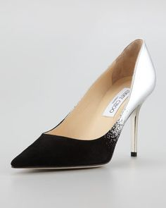 Jimmy Choo Agnes Ombre Pointed-Toe Pump, Black/Silver - Neiman Marcus