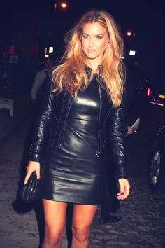 Bar Refaeli at Versace Soho Store Opening leather dress and jacket