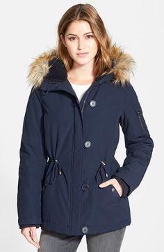 DKNY 'Snorkle' Parka with Faux Fur Trim (Online Only) available at #Nordstrom