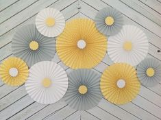 Items similar to Yellow, Gray and White Set of 10 (TEN) Yellow, Gray and White paper fans/rosettes, decorations for Baby Shower,Birthday Party or Wedding on Etsy Diy Baby Shower Decorations, Flower Decorations, Wedding Decorations, Yellow Grey Weddings, Yellow Wedding, Paper Fans, Arte Floral, Colour Schemes, Grey And White