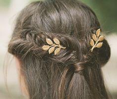 Gold Leaf Branch Bobby Pins Leaf Hair Pins Leaf Hair Clips Bridal Hair Pin…